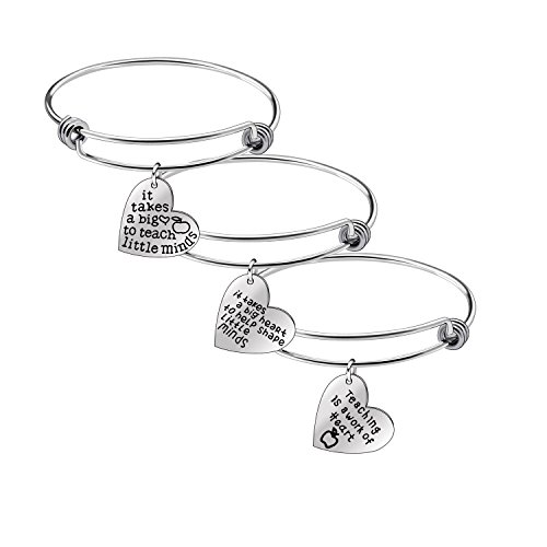 Niceter Womens Mens Heart Shape Pendant Bracelets Bangles Sets Gifts for Mother Teacher Family (Piece Set Bangle Silver 3)