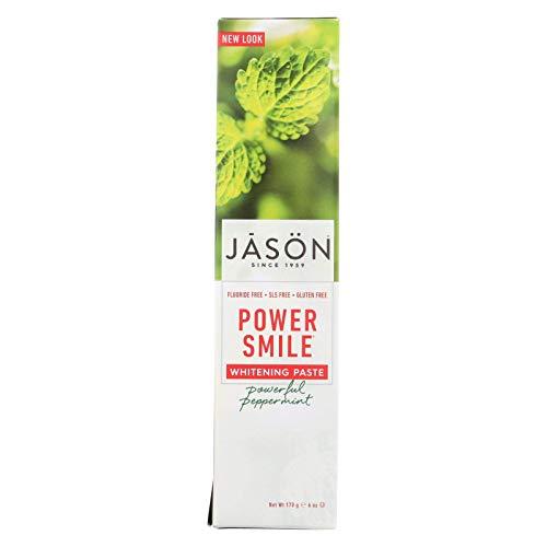 JASON Powersmile Whitening Fluoride-Free Toothpaste, Powerful Peppermint, 6 Ounce Tube (Free Jasons Toothpaste Gluten)