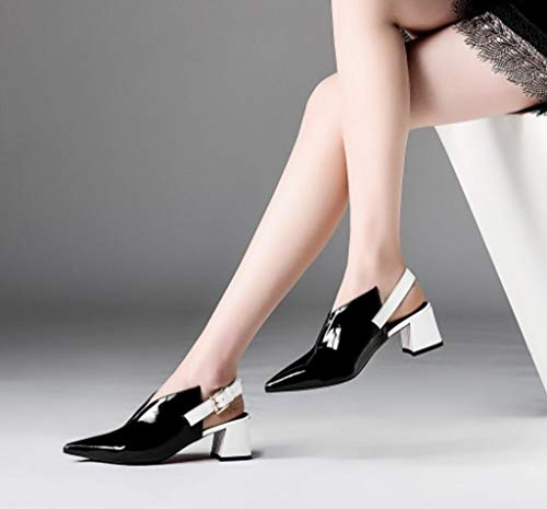 Misto Colore Comodo Colore Strato Estate Ladies Nero in di 39 Sandali Tallone Primo Dimensioni Pelle YB0gq