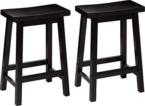 PJ Wood 24 Inch Saddle Seat Counter Stool Pack 2 – Black