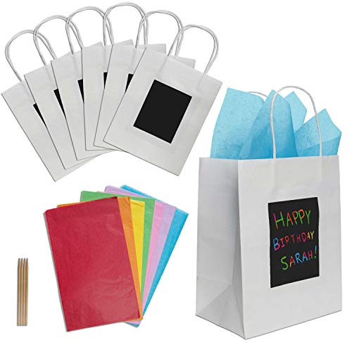7 White Gift Bags with Scratch Paper Panel for Customization, Tissue Paper Also Included! These Unique Bulk Paper Bags with Handles are great as Small Gift Bags, Party Favor Bags, and Kraft Paper Bags -