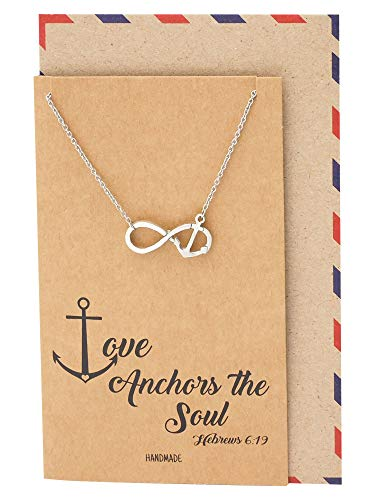 Quan Jewelry Infinity Necklace, Sailor Pendant with Mini Anchor Charm, Sea Anchor Inspirational Quote on Greeting ()