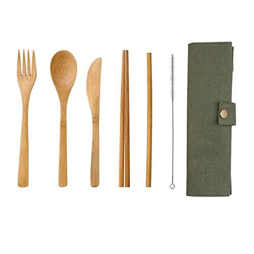 - 7Pcs/Set Flatware Cutlery Set Bamboo Straw Set With Cloth Bag Wooden Knives Fork Spoon Chopsticks Travel Flatware Set,2Set,C