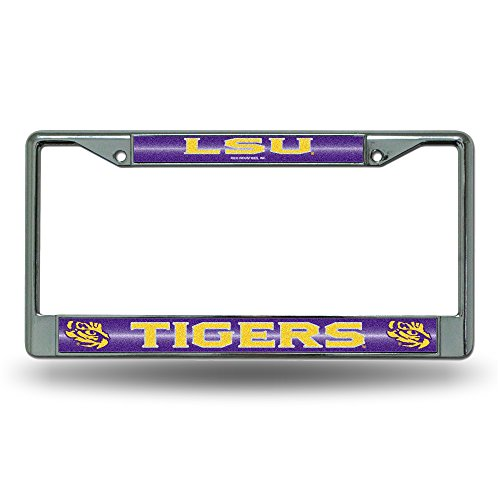 NCAA LSU Tigers Bling Chrome License Plate Frame with Glitter Accent
