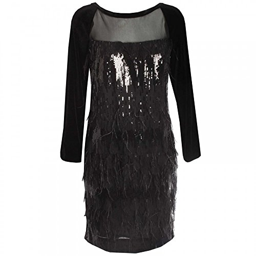 Cocktail Negro Feathers Dress And Paola Sequin Collection xIq0zz
