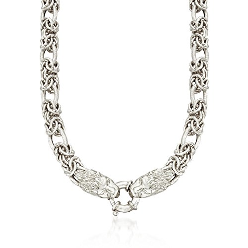 Ross-Simons Italian Sterling Silver Byzantine and Oval Link Necklace with Double Lion Head by Ross-Simons