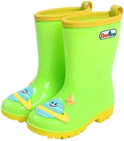 Blue//Pink//Yellow with Easy-on Handles TRIPLE DEER Kids Light Up Rain Boots Waterproof Lightweight Boots with Lights for Toddlers /& Little Kids Age 1-9