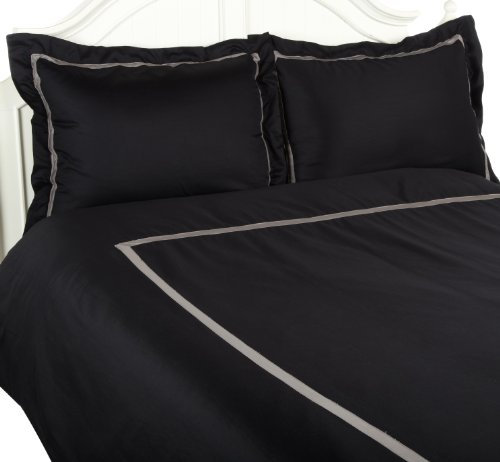 Superior 300 Thread Count 100% Cotton, Hotel Collection, Single Ply,  King/California King Duvet Cover Set, Black with Grey ()