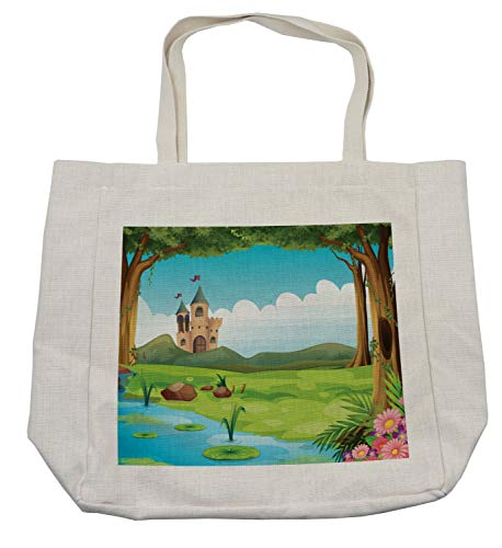 Lunarable Castle Shopping Bag, Scenic Landscape with Castle Forest and Lake Children Cartoon Water Lilies and Trees, Eco-Friendly Reusable Bag for Groceries Beach Travel School & More, Cream]()