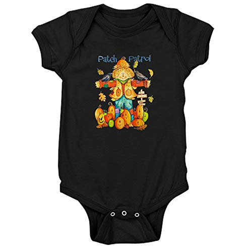 Royal Lion Infant Bodysuit Dark Halloween Scarecrow Pumpkins Crows - Black, 6 to 12 Months -