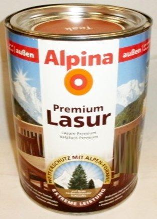 ALPINA Premium Lasur, 2,5 L. Holz Dickschichtlasur außen, Weiß ...