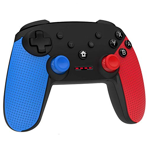 Momen Wireless Switch Pro Controller for Nintendo, Enhanced Dual Shock Gaming Gamepad Joypad with Nintendo Switch Gyro Axis- (Blue-Red-Black)