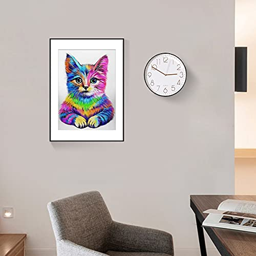 DIY Diamond Painting Kit Cats 13.7 x 17.7 inch, 5D Full Drill Rhinestone DIY Crafts for Adults & Kids Colorful Cat Crystal Gem Arts Painting Perfect for Home Wall Decor
