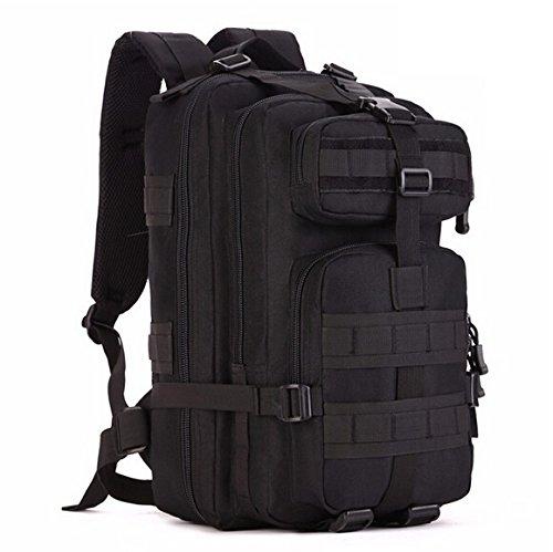 Mefly Men'S Bag 30L Mochila De Senderismo Trek Camuflaje Mochila De Viaje Mochila De Nylon Impermeable Negro Una Mochila Militar Black