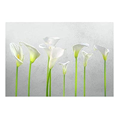 Arum Lilies with Gray Textured Background - Wall Mural, Removable Sticker, Home Decor - 100x144 inches