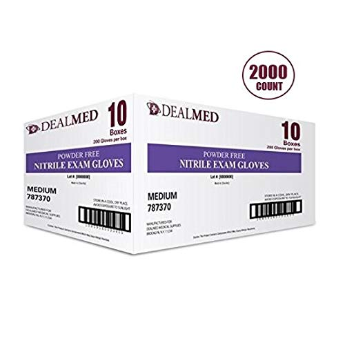 Dealmed Brand Nitrile Medical Grade Exam Gloves, Disposable, Latex-Free, 2000 Count, Size Medium from Dealmed