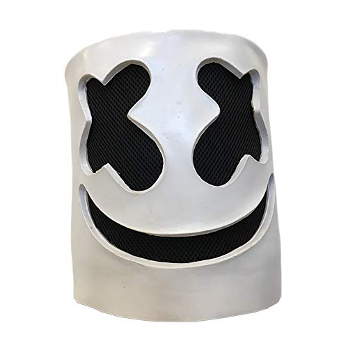 DJ Marshmello Mask Smile Full Face Cosplay Costume Carnaval Halloween Prop Latex Masks ()