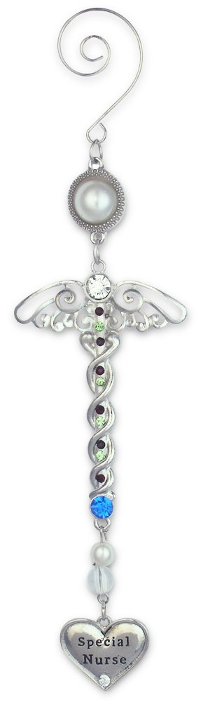 Banberry Designs Nurse Ornament - Metal Filigree and Jeweled Caduceus Hanging Ornament - Nurse Gifts, Nurse Practitioner, Nurses Aide, School Nurse