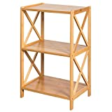 HollyHOME 3 Tier 100% Bamboo Bathroom Kitchen Living Room Shelf, Plant and Flowers Stand Utility Storage Shelf,Multifunctional Storage Rack Shelving Unit End Table, 16.38''x11.63''x25.51''