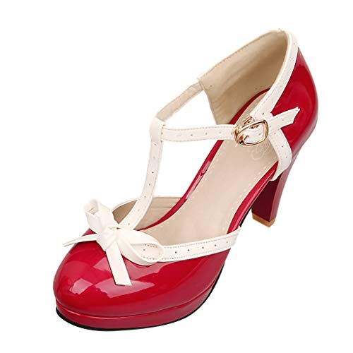 - Toimothcn Mary Jane Dress Women's Round Toe T-Strap Mid Heel Princess Pumps Shoes(Red,US:7.5)