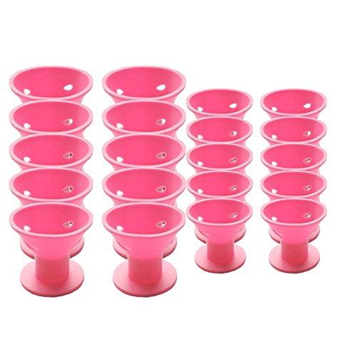TOOGOO 20 piezas de de Bigudi de pelo magico rosa Sin clip Sin calor Rizadores de pelo de silicona Herramientas profesionales para el cabello