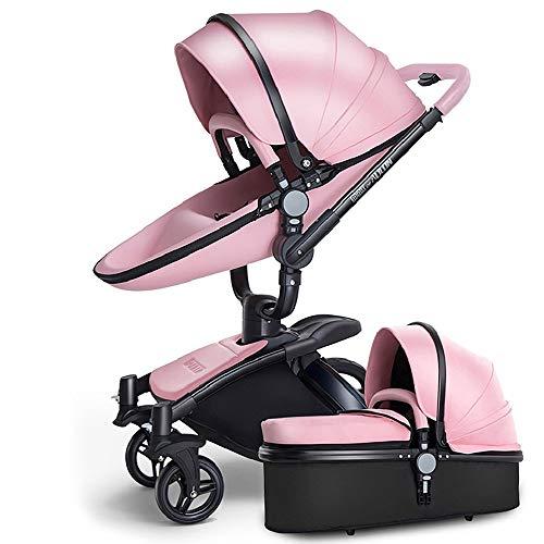 SpringBuds Baby Stroller Bassinet Carriage Combo 360 Rotation 3-in-1 Shock-Resistant High Landscape Luxury Pram Infant Stroller for Newborn and Toddler -Pink