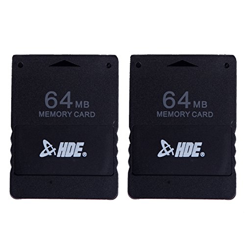 HDE 64 MB Memory Card For Sony Playstation PS2 Gaming Console (2 pack) (2 Card Memory Slim Playstation)