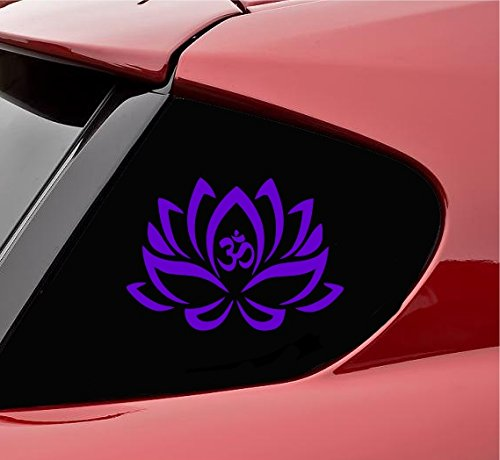 Purple Flowers Sticker - Lotus flower Om Yoga Vinyl Decal Sticker (Purple)