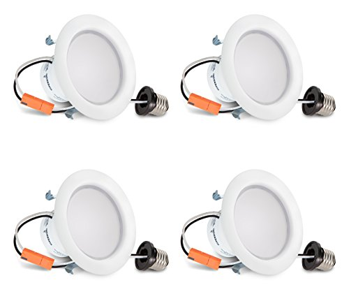 (Hyperikon 4 Inch LED Recessed Lighting Dimmable Downlight, 9W (65W Equivalent), 3000K, CRI94, Retrofit Lighting Fixture, Great for Cans in Bathroom, Kitchen, Office (4 Pack))