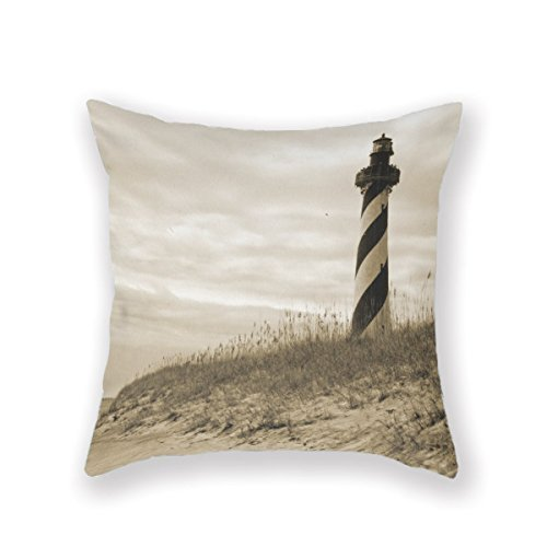 North Shore Monogram - Sea Vintage North Carolina Fishing Square Decorative Throw Pillow Case Zippered Cushion Cover Size 18 X 18 Inches (Twin Sides) by Customized Pillowcase