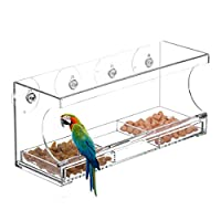 CY craft Window Bird Feeders with 4 Super Strong Suction Cups and Sliding Seed Tray,Clear Acrylic Outdoor Bird Feeder, Large,Pack of 1