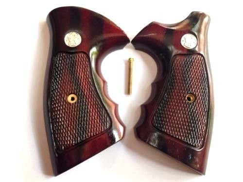 DOXICON&NOMIX Hardwood K Frame Square Butt Smith and Wesson Handcraft Handmade Grips Revolvers Checkered ()