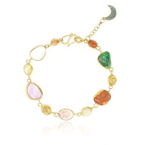 Pippa Small Bracelet Plaqué Or Ovale Grenat Multicolore Femme