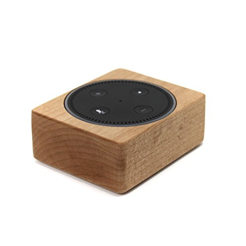Echo Dot Wood Stand, Solid Wood Holder, Rustic Hardwood Stand for Alexa, Handmade in USA, Decorative Protective Case Made from Alder Wood, Natural Finish (Wood Dot)