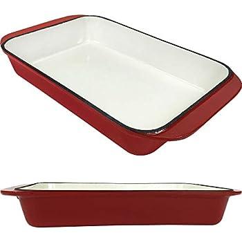 2.9 Qt Enameled Cast Iron Rectangular Roaster, Casserole Dish, Lasagna Pan, Deep Roasting Pan, for Cooking and Baking - Red