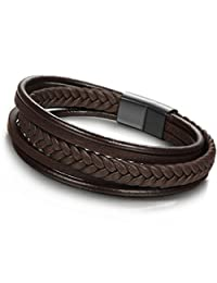 JOERICA Braided Leather Bracelet Stainless Steel Magnetic-Clasp Wrap Mens Bracelet 8.5 inches Brown
