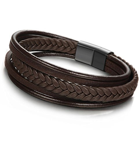 JOERICA Braided Leather Bracelet Stainless Steel Magnetic-Clasp Wrap Mens Bracelet 8.5inches Brown