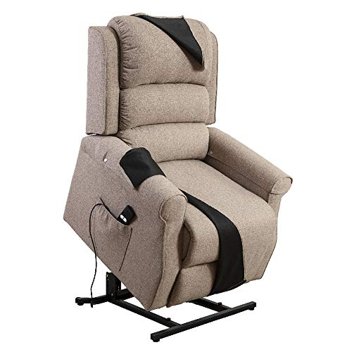 Irene House Power Modern Transitional Lift Chair Recliners with Soft Linen(Brushed ) Fabric (Light Brown)