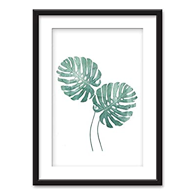 Crafted to Perfection, Alluring Visual, Framed Tropical Plant Leaves Black Picture Frames White Matting