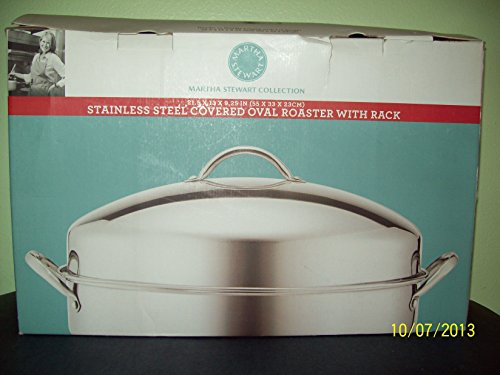 Martha Stewart Collection - Stainless Steel Covered Oval Roaster with Rack by Martha Stewart