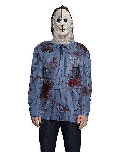 (Faux Real Men's Mike Myers Full Zip Up Mask Hoodie, Multi)