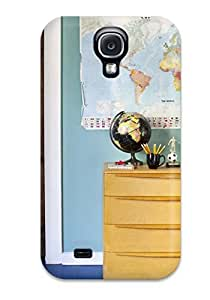 Best Case Cover Protector Specially Made For Galaxy S4 Kids Room With Blue-green Wall Color Displays A World Map