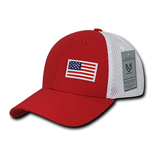 USA Flag Embroidered Aero Foam Mesh Flex Fitting Cap (One Size, Red)
