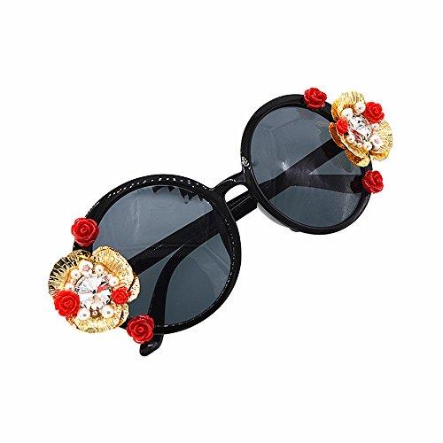 Rose Eyewear Flower Gafas Sunglass Gafas de para sol varios lentes colores para de romántica mujer disponibles mujer Style sol Pearl a mano en Tassel de Metal Gold hecha Chain Retro Baroque SIIOqPH