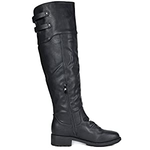 DREAM PAIRS Women's Supra Black Over The Knee Motorcycle Riding Boots Wide Calf Size 10 M US