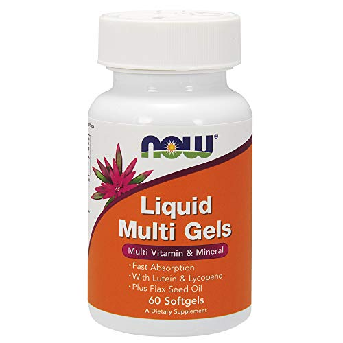 NOW Supplements, Liquid Multi Gels with Lutein and Lycopene, plus Flax Seed Oil, 60 Softgels