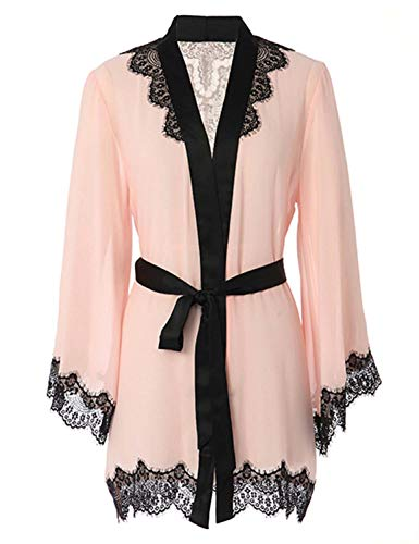 Vivilover Women's Sexy Mesh Kimono Lingerie Lace Nightgown Robe Set One Size]()