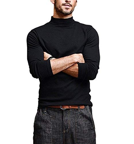 2a4a91a9642 DENIMHOLIC Men s Cotton Full Sleeve Classic High Neck T-Shirt (Black