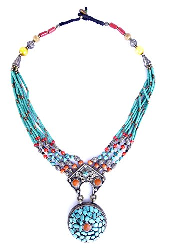 AMBER, TURQUOISE & CORAL TIBETAN NECKLACE FOR WOMEN FINE HANDMADE SILVER FASHION NECKLACE