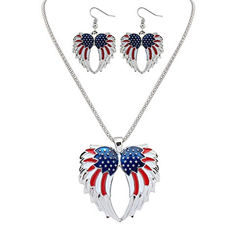 (Fashion USA American Flag Angel Wings July 4 Necklace Earrings Set Red White Blue)